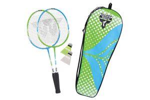 Talbot Torro Kinder Badminton-Set 2-Attacker Junior, 2 verkürzte Schläger 53 cm, 2 Federbälle, in wertiger Tasche