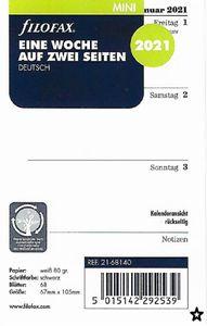 Filofax Kalender Einlage Mini: Eine Woche auf zwei Seiten 2021 deutsch
