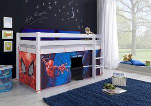 """Relita Halbhohes Spielbett ALEX mit Vorhang Disney """"Spiderman"""", Buche massiv weiß lackiert"""