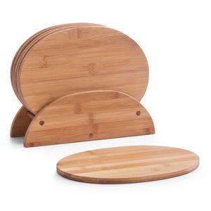 Zeller Brettchenständer, 7-tlg., oval, Bamboo 24x8x19
