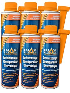 INOX® Dieselpartikelfilter Reiniger Additiv, 6 x 250ml - Hochleistungs Kraftstoffzusatz für alle Dieselmotoren, Reinigung während des Fahrbetriebs