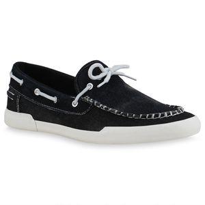 Mytrendshoe Herren Halbschuhe Bootsschuhe Slippers Denim Schleifen Schuhe 835045, Farbe: Schwarz, Größe: 43