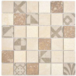 Fliesenspiegel Marmor Mosaik Keramikmosaik beige Mosaikfliese Wand Küche Bad MOS180-B0348B