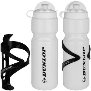 Dunlop Fahrradflasche 750 ml mit Halter 2 Stück weiß Trinkflasche Fahrrad Wasserflasche Radflasche