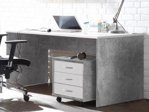 """Schreibtisch Bürotisch Computertisch Arbeitstisch Tisch Büromöbel """"Olli I"""" Beton / Weiß"""