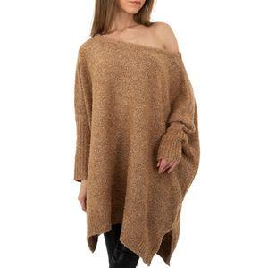 Ital-Design Damen Pullover & Strick Longpullover Hellbraun