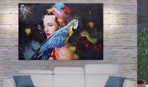 Ölgemälde Frau MCW-H25, Leinwandbild Wandgemälde Gemälde, handgemaltes XL Wandbild  180x120cm