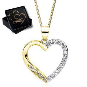 45cm Halskette Herz 925 Silber Gold mit Zirkonia Anhänger für Frauen Damen Kette mit Herz Herzkette  Bicolor K865 + V11