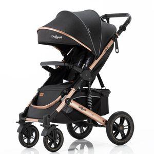 Daliya® Rapidy Buggy / Kinderwagen 0-36 Monate / Sportwagen mit Liegeposition / Wickeltasche, Winterfußsack, Ess- & Spieltisch und mehr Schwarz - Gold