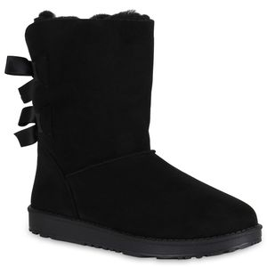 Mytrendshoe Damen Schlupfstiefel Gefütterte Stiefel Winter Schuhe Schleifen 819255, Farbe: Schwarz, Größe: 37