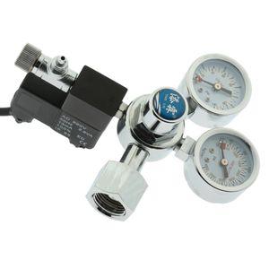 CO2 Druckminderer Dual Gauge Regler Regulator mit Magnetventil für Aquarium