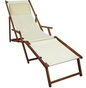 Sonnenliege weiß Kissen Liegestuhl Gartenliege Holz Deckchair Strandstuhl Gartenmöbel 10-303FKH