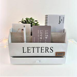Schreibtischorganizer LETTERS mit 3 Holztaschen und 1 Schublade - Weiß/Natur