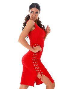 Ärmelloses Rippstrick Kleid mit Ösen-Verzierung, Farbe: Rot, Größe: S/M