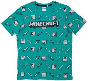 Minecraft T-Shirt Drop Top grün/grau Größe 152