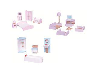 Lelin 3er Set Puppenhausmöbel, Badezimmer, Schlafzimmer, Wohnzimmer