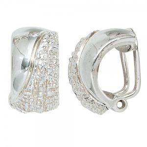 JOBO Ohrclips 925 Sterling Silber rhodiniert teilgehämmert Ohrringe