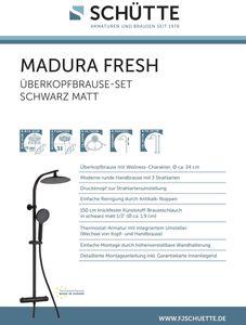 Duschset MADURA FRESH, Duschsäule 2 in 1 mit großer Regendusche (Ø 24 cm) und Handbrause, Thermostatarmatur mit Sicherheitsperre bei 38°C, komplettes Montageset, Schwarz matt