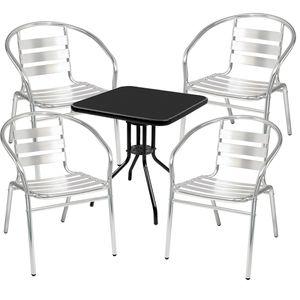 Bistro Sitzgarnitur Bistrogarnitur 5-teilig Tisch Schwarz /Silber