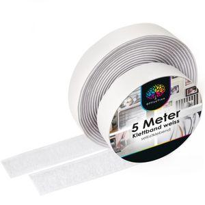 OfficeTree Klettband weiß selbstklebend - 5 Meter lang ca. 20 mm breit