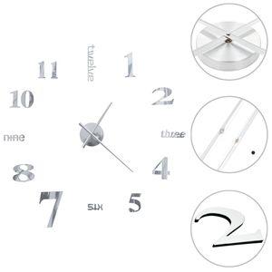 vidaXL 3D-Wanduhr Modernes Design 100 cm XXL Silbern
