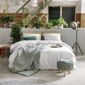 WALRA Natural Mix Leinen Bettwäsche Weiß uni mit RV Sommerbettwäsche, GRÖßENAUSWAHL:155x220 cm + 80x80 cm