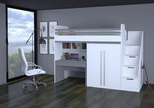 Polini City Hochbett Kombination mit Treppe Schrank und Tisch wei grau