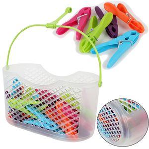Wäscheklammern im Korb, 30 Stück, versch. Farben,