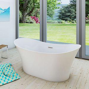 AcquaVapore freistehende Badewanne Wanne Acryl FSW04 170 x 80 x 58 cm Armatur wählbar ohne Armatur +0.-€