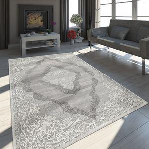 Teppich Wohnzimmer Kurzflor Vintage Ornamente Orient Muster Grau Weiß, Grösse:200x290 cm