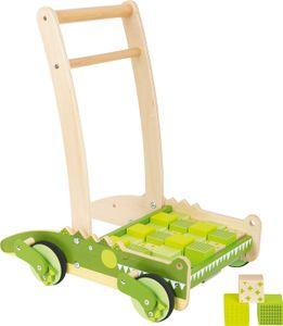 small foot 11738 Lauflernwagen Krokodil aus Holz  mit Bremssystem und Bauklötzen für Kinder ab 12 Monaten