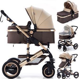 Kinderwagen Bambimo  2in1 9-Teile Set Gold-Braun