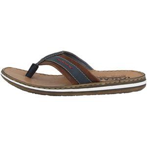 Rieker 21072-14 Herren Schuhe Zehentrenner Pantoletten Weite G, Größe:45 EU, Farbe:Blau