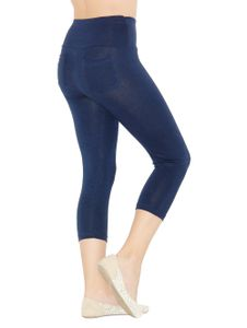 Capri 3/4 Damen Leggings  Baumwolle Hose hoher Bund  Taschen dunkelblau XXXL-44