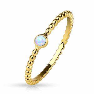Opal Ring gold: Stapelring / Midi Ring geflochten, Ringgrösse:54 (17.2 mm Ø)