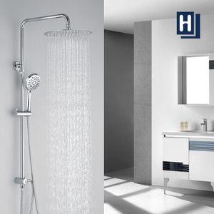 Duschsystem mit Edelstahl Überkopfbrause und Handbrause Duschsäule Duschset Regendusche Höhenverstellbar Duschstange Massagedüsen Brausegarnitur ohne Armatur für Bad