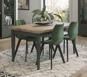 Esstisch Küchentisch Holztisch 160-240x90cm grün eiche lefkas Landhaus