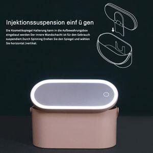 Kosmetikspiegel, Kosmetikkasten mit LED-Licht, tragbare Kosmetiktasche, Reisekosmetiktasche (pink)