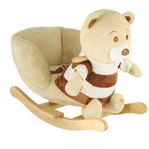Bieco Plüsch Schaukeltier Bär Bubu 62x30x48cm   Schaukelpferd Baby   Schaukeltier Baby   Kinderschaukel Indoor   Baby Wippe   Baby Schaukel   Schaukel Baby Spielzeug ab 1 Jahr   Holz Spielzeug Baby