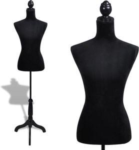 Schneiderpuppe - Schneiderbüste Damen Torso - schwarz Samt - 134 bis 170 cm