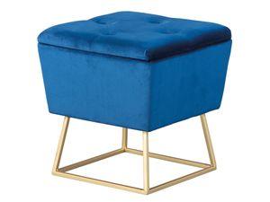 Design Sitzhocker inkl. Stauraum Hocker Samt blau mit Fußgest. aus Metall