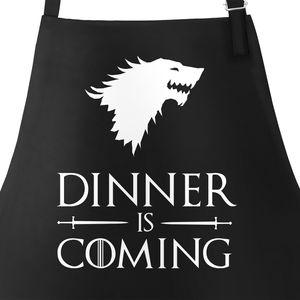 Grill-Schürze für Männer mit Spruch Grillen Dinner is coming Baumwoll-Schürze Grill-schürze Küchenschürze Moonworks® schwarz unisize
