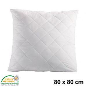 Kopfkissen 80x80 cm Innenkissen Steppkissen Mikrofaser Kissen für Allergiker füllkissen Bettkissen Schlafkissen Pillow (Weiß, 80 x 80 cm)