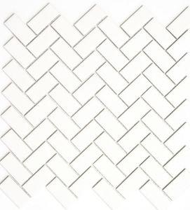 Mosaik Fliese Keramik Fischgrät weiß matt Badewannenverkleidung MOS24-CHB05WM_f