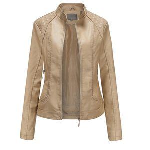Winterwarme Frauen Kurzmantel Lederjacke Reißverschluss Oberteile Mantel Outwear Größe:L,Farbe:Beige
