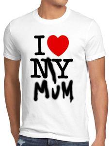 style3 I Love My Mum T-Shirt Herren new york amerika ny muttertag usa herz, Größe:XL, Farbe:Weiß