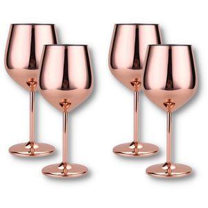 Edelstahl Große Weingläser 4er Set 500 ml Rose Geschenk Gläser Becher Cocktail Glas Weinglas Champagner