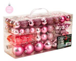 100 teiliges Set Lamettini Rosa Weihnachtskugeln Spitze Lametta Anhänger