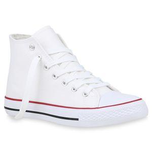 Mytrendshoe Damen Sneakers High Top Sportschuhe Stoffschuhe Freizeit Schuhe 816487, Farbe: Weiß, Größe: 42