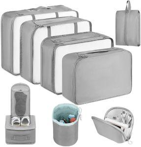Packing Cubes, 8 Teilig Koffer Organizer,Kleidertaschen für Koffer Kleidung Kosmetik Schuhbeutel,Grau